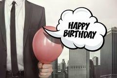 Happy birthday text on speech bubble Royalty Free Stock Photos
