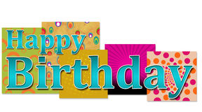 Happy Birthday Text with various background. Happy Birthday text on on various colourful backgrounds stock illustration