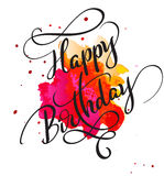 Happy Birthday text on watercolor red blot. Hand drawn Calligraphy lettering Vector illustration EPS10 Royalty Free Stock Images