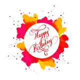 Happy Birthday text on watercolor red blot. Hand drawn Calligraphy lettering Vector illustration EPS10 Royalty Free Stock Photography