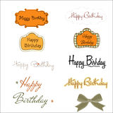 Happy birthday texts set isolated on white background Stock Photo