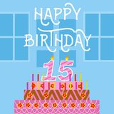 Happy Birthday 15 th old Pink Cake postcard - hand lettering - handmade calligraphy Royalty Free Stock Images
