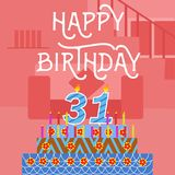 Happy Birthday 31 th old Pink Cake postcard - hand lettering - handmade calligraphy. High resolution , awesome Stock Photo