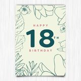 Happy birthday 18th years greeting card. Vector icon of happy birthday 18th years greeting card with leaves decoration vector illustration