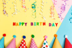 Happy birthday theme on a bright background. Happy birthday theme on a bright split tone background Stock Photos