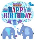 Happy birthday theme with elephants 2 vector illustration