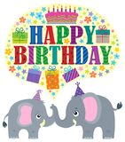 Happy birthday theme with elephants 1 Royalty Free Stock Image