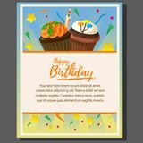 Happy birthday theme poster with candle cupcake. Additional in eps 10 file Stock Photos
