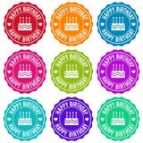 Happy Birthday Themed Label Design Set. Stock Photo