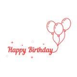 Happy birthday with thin line balloon Royalty Free Stock Photo
