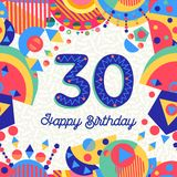 30 thirty year birthday party greeting card. Happy Birthday thirty 30 year fun design with number, text label and colorful decoration. Ideal for party invitation Royalty Free Stock Photography