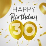 Happy birthday 30 thirty year gold balloon card. Happy Birthday 30 thirty years, luxury design with gold balloon number and golden confetti decoration. Ideal for Stock Image
