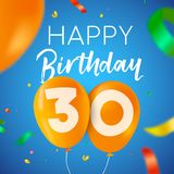 Happy birthday 30 thirty year balloon party card. Happy Birthday 30 thirty years fun design with balloon number and colorful confetti decoration. Ideal for party vector illustration