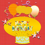 Happy birthday. Ticket happy birthday with decoration Stock Photo