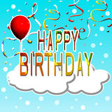 Happy Birthday. Ticket wishes birthday with  toy balloon and decorations Royalty Free Stock Photo