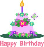 Happy Birthday Tiered Tropical Cake Stock Images