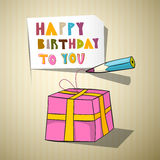 Happy Birthday Title, Gift Box, Pencil Royalty Free Stock Photography