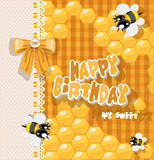 Happy Birthday to my sweet - card with bees Royalty Free Stock Photos