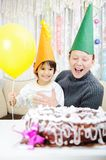 Happy birthday to you!. Grandmother and a boy royalty free stock photos