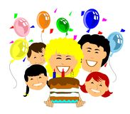 Happy birthday to you. Family celebrating a birthday in retro style with cake and balloons Royalty Free Stock Photos