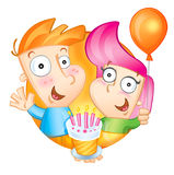 Happy Birthday to You. The boy and the girl hold a pie and a balloon, congratulate happy birthday. A  illustration Stock Image