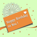 Happy Birthday to you. Abstract colorful background with orange card with the text Happy Birthday to you written on the card Stock Image