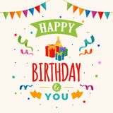 Happy birthday to you background vector. gift box, party hat illustration with flag and confetti ornament. Greeting, banner, backdrop, poster template Stock Photos