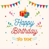 Happy Birthday To You Background Vector. Gift Box, Party Hat Illustration With Flag And Confetti Ornament. Royalty Free Stock Photo