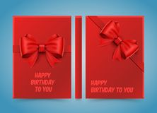 Happy birthday to you. Bow on red paper. Stock Images