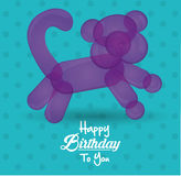Happy birthday to you card with balloon cat shape dot turquoise background Royalty Free Stock Photo