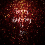 Happy birthday to you card golden. Bokeh effect particles lighting from top Royalty Free Stock Photography