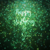 Happy birthday to you card green. Bokeh effect particles lighting from top Royalty Free Stock Photos