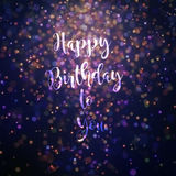 Happy birthday to you card orange and purple. Bokeh effect particles lighting from top Royalty Free Stock Images