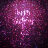 Happy birthday to you card pink and purple. Happy birthday to you card green bokeh effect particles lighting from top Stock Photos