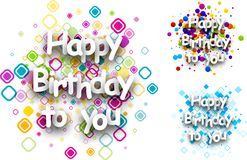 Happy birthday to you cards. Happy birthday to you colour cards set. Vector paper illustration Stock Photos