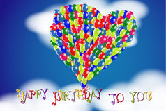 Happy Birthday To You cloudy sky background with Heart shape balloons. Stock Images