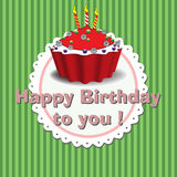 Happy Birthday to you. Colorful background with birthday cake and the text Happy Birthday to you written with pink letters Royalty Free Stock Photography