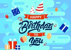 Happy birthday to you colourful background in flat style with gifts, presents, ribbons, balloons illustrations. Vector. Design stock illustration