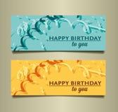 Happy birthday to you confetti set background card Royalty Free Stock Photo