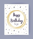Happy Birthday to You Congrats Vector Illustration. Happy Birthday to you congrats in round frame surrounded by colorful spots and doodles. Vector illustration Stock Photos