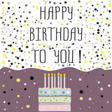 Happy birthday to you , cute card with cake,candles. Vector illustration royalty free illustration