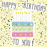 Happy birthday to you , cute card with cake,candles. Vector illustration Royalty Free Stock Image