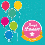 Happy birthday to you flying balloons label Stock Images