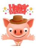 Happy birthday to you Funny little pig cartoon emoji character. Happy birthday to you Funny little pig cartoon emoji characte. Vector illustration Royalty Free Stock Photography