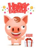 Happy birthday to you Funny little pig cartoon emoji character. Happy birthday to you Funny little pig cartoon emoji characte. Vector illustration Royalty Free Stock Image