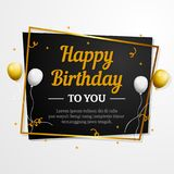 Happy Birthday to You greeting card. Elegant professional banner template. Happy Birthday to You decorative greeting card with golden box frame and silver gold Stock Photography