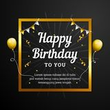 Happy Birthday to You greeting card. Elegant professional banner template. With golden frame, ribbon decoration and flying balloons Royalty Free Stock Image