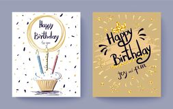 Happy Birthday to You Joy and Fun Festive Postcard. Decorated with golden stars and cake with burning candles. Vector illustration with set of two posters Stock Images