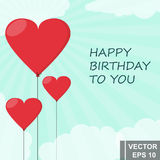 Happy Birthday to You. Red balls in the shape of heart. Card. Royalty Free Stock Photo