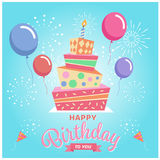 Happy birthday to you with Square cake , balloon and firework on blue sky background Royalty Free Stock Images